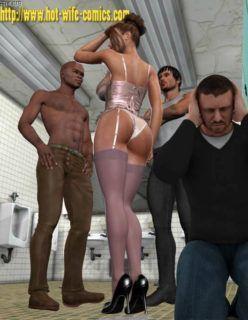 HQ 3D – Esposa Gostosa fodendo com 3 no banheiro – Hentai