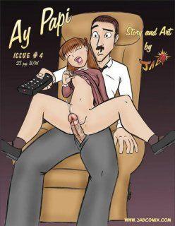 Quadrinho Erótico – Ay Papi #4 – Papai sarrando na buceta da filha – Cartoon Porno